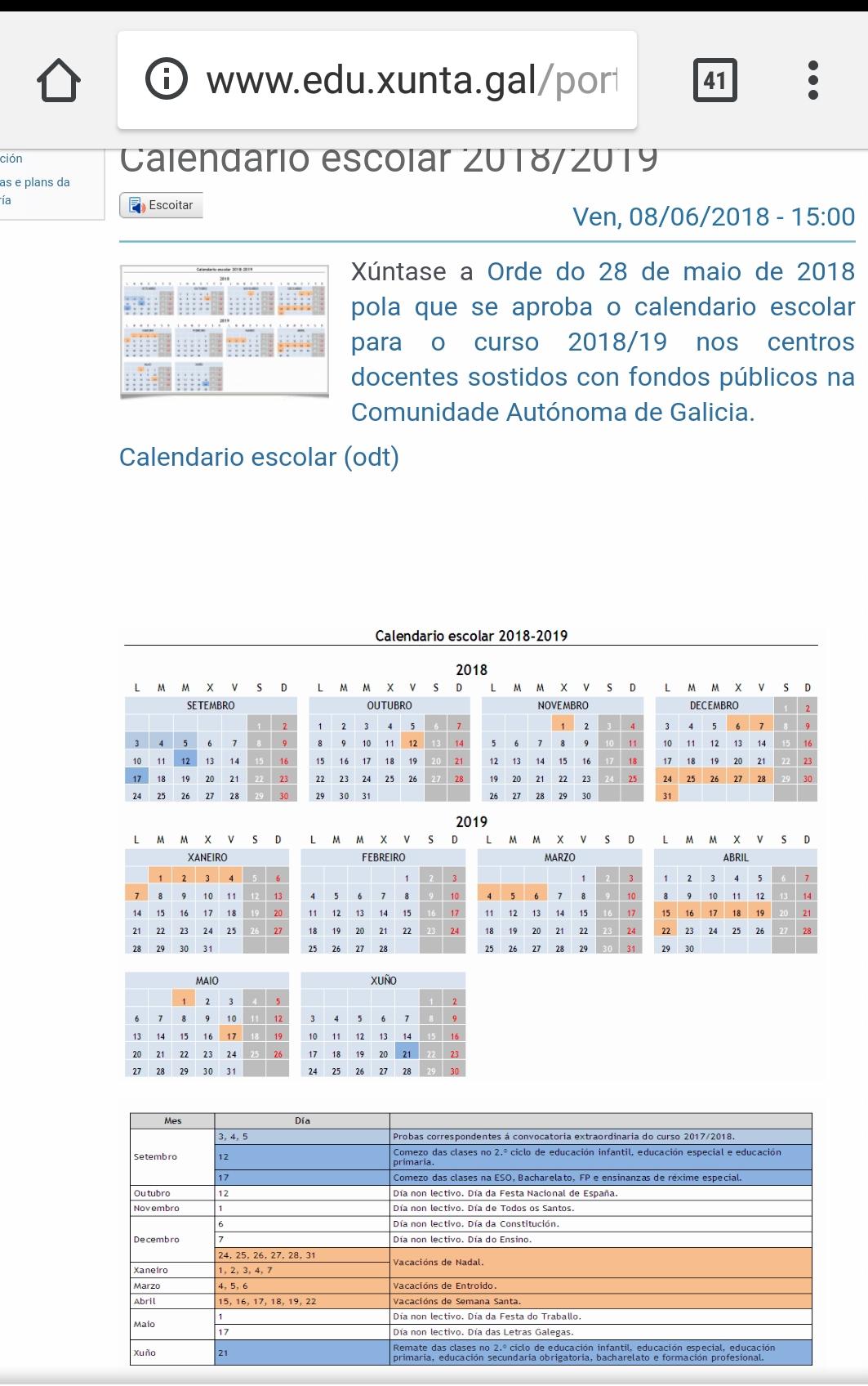 Calendario Escolar Xunta.Calendario Escolar 2018 2019 Anpa Luis Vives Ourense